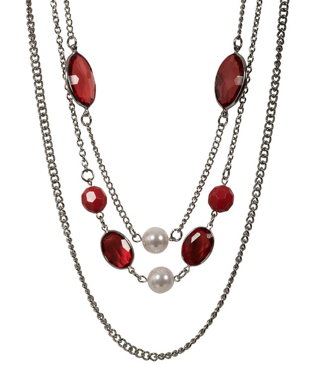 FACETED BEAD AND PEARL NECKLACE, Crimson/Rhodium, hi-res