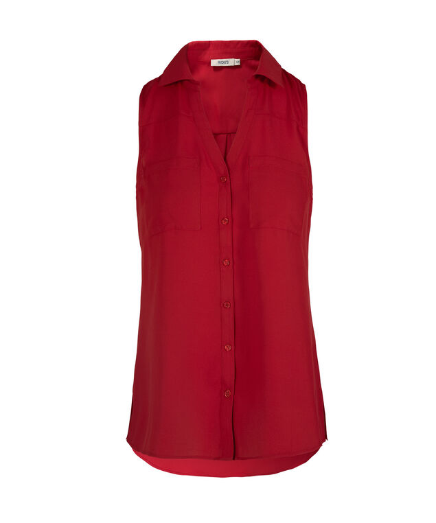 Sleeveless Collared Button-Front Shirt, Red, hi-res