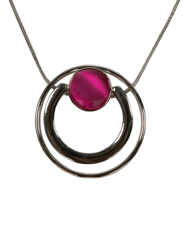 Double Circle Cateye Pendant, Hot Pink/Rhodium, hi-res