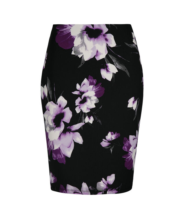 Floral Scuba Pencil Skirt, Ultra Purple Print, hi-res