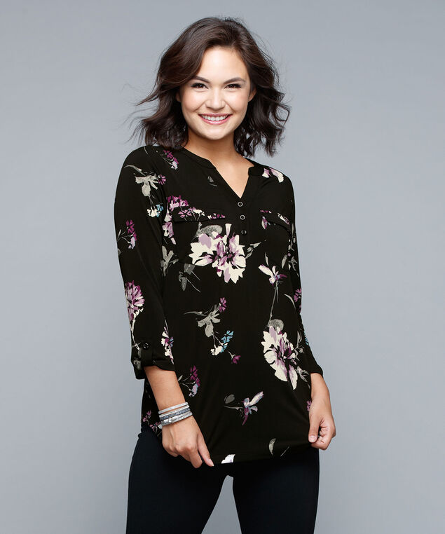 Tab Sleeve Henley Top, Black Print, hi-res