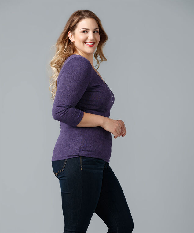 Studded Hacci V-Neck, Sugar Plum, hi-res