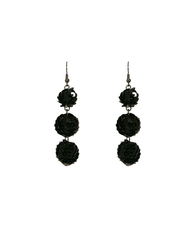 Sequin Ball Drop Earring, Black/Hematite, hi-res