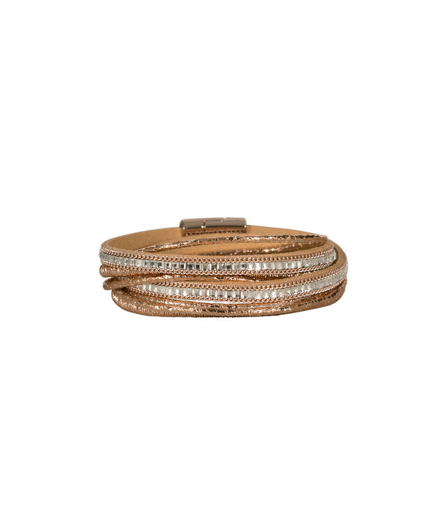 MULTI-ROW FAUX LEATHER & CRYSTAL BRACELET, Clear/Rose Gold, hi-res