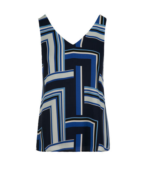 Double-V Sleeveless Layered  Blouse, Blue Geo Print, hi-res