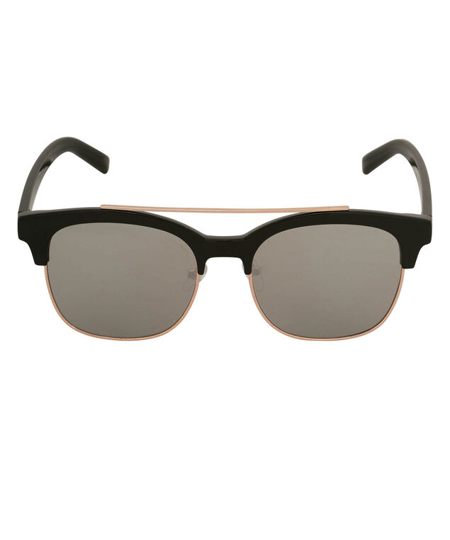Square Frame Mirrored Sunglasses, Black/Gold, hi-res