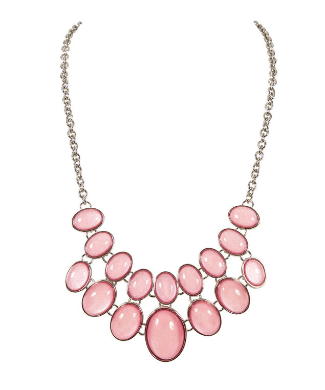 Double Row Statement Necklace, Dusty Rose/Rhodium, hi-res