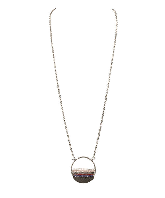 WRAPPED STONES PENDANT NECKLACE, Sugar Plum/Watermelon/Brushed Silver, hi-res