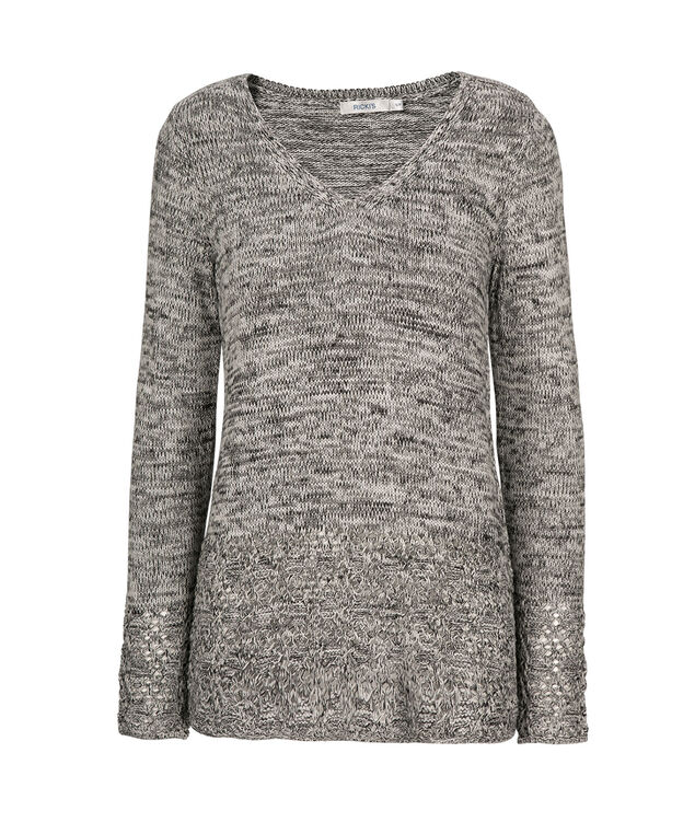 Pointelle Hem Pullover, Black/White Mix, hi-res