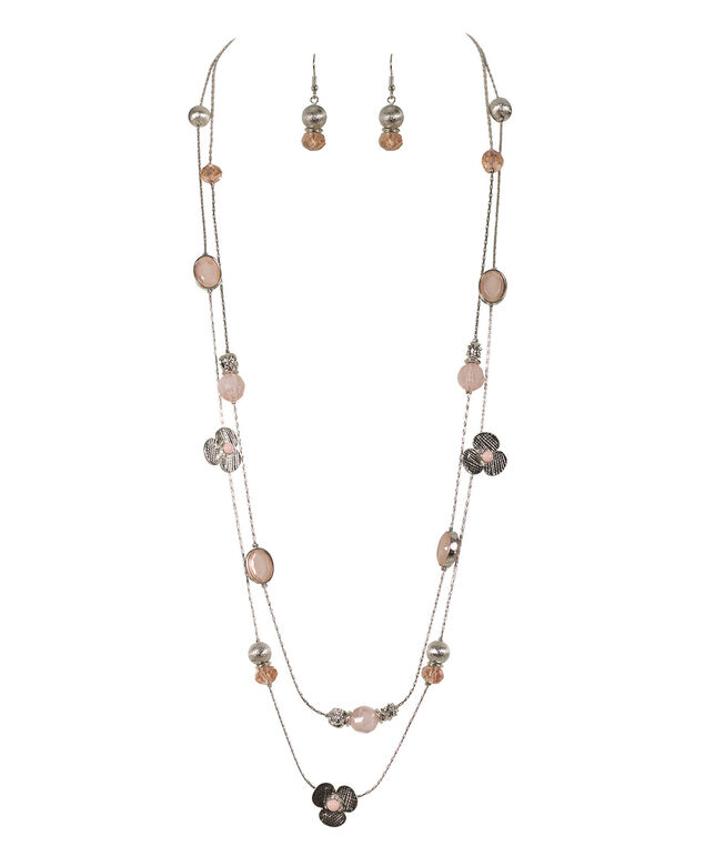 STATIONED BEAD AND FLOWER NECKLACE SET, Blush Pink/Rhodium, hi-res