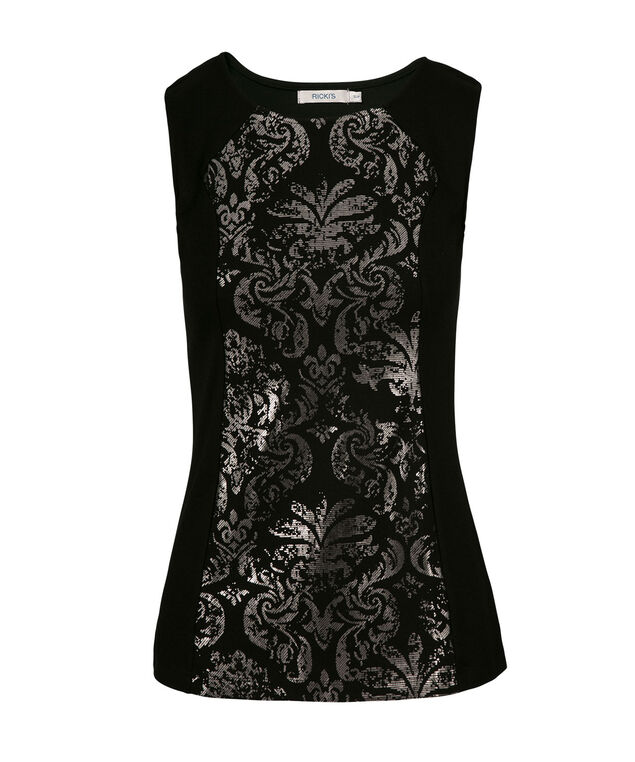 Baroque Print Peplum, Black Pattern, hi-res