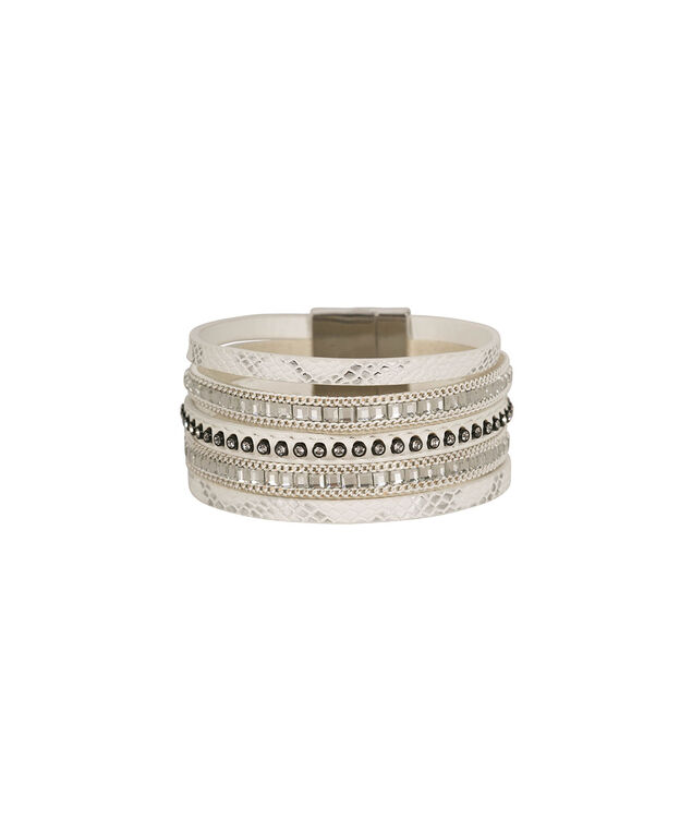 Faux Leather And Crystal Bracelet, White/Rhodium, hi-res