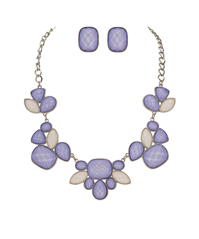 Faceted Glitter Stone Statement Necklace Set, Iced Violet/White/Rhodium, hi-res