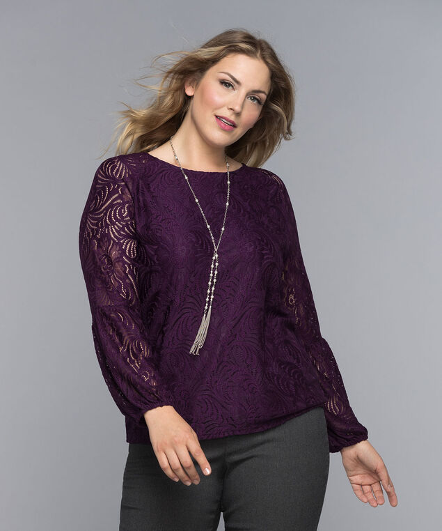 Lace Lantern Sleeve Top, Amethyst, hi-res