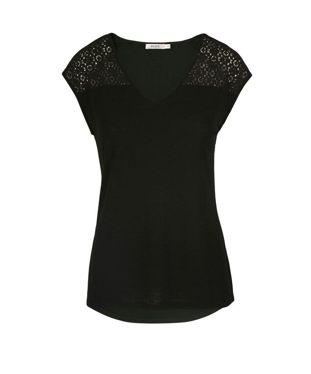 Crochet Trim Extended Sleeve Top, Black, hi-res