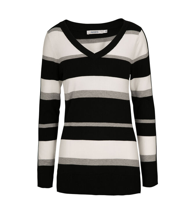 Stripe V-Neck Pullover, Black/Milkshake/Grey, hi-res