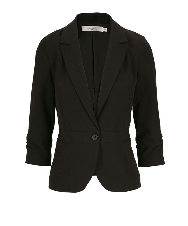 Tri-Blend Ruched Blazer, Black, hi-res