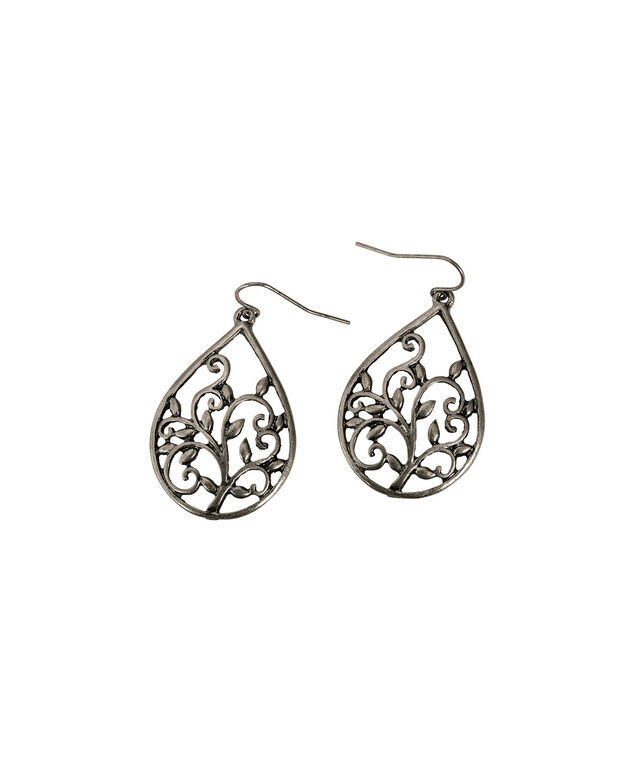 Filigree Leaves Earrings, Brushed Silver, hi-res