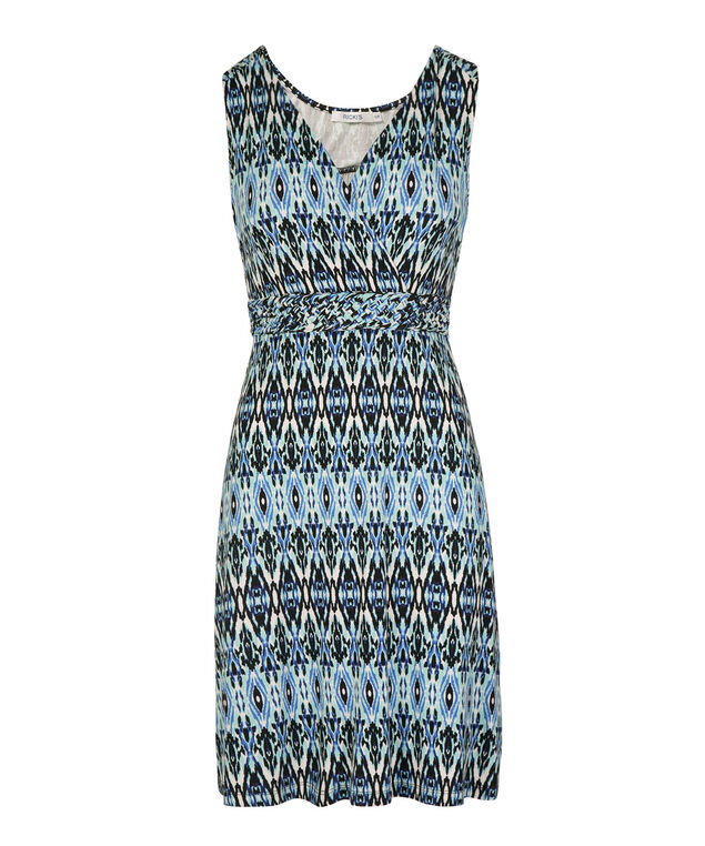 Sleeveless Braided Waist Sundress, White/Blue Pattern, hi-res