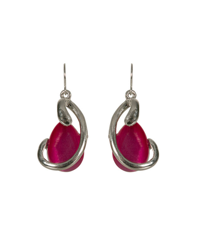 Metal Wrapped Cateye Earring, Hot Pink/Rhodium, hi-res