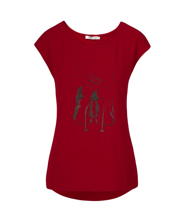 Extended Sleeve Scoop Neck, Crimson Print, hi-res