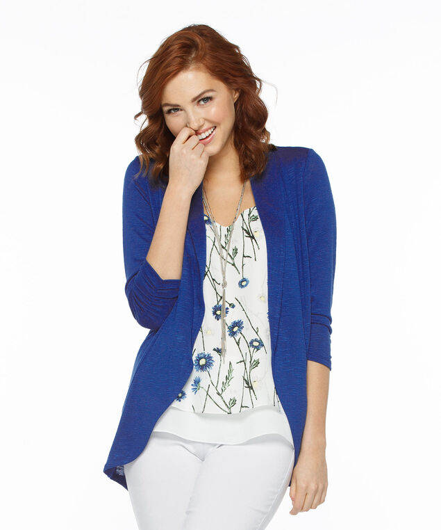 Shawl Collar Cardigan, Blue, hi-res