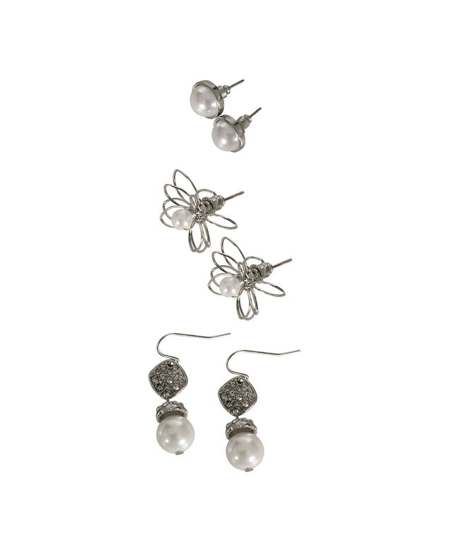 Pearl and Silver Earring Set, White/Rhodium, hi-res