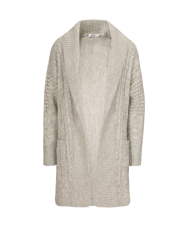 Cable Knit Tunic Cardigan, Grey, hi-res
