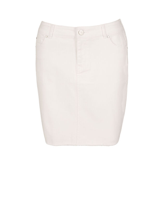 Frayed Hem Denim Skirt, True White, hi-res
