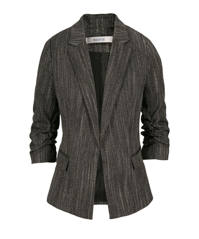Tweed Ruched Blazer, Charcoal, hi-res