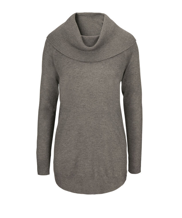Cowl Tunic Sweater, Mid Grey, hi-res