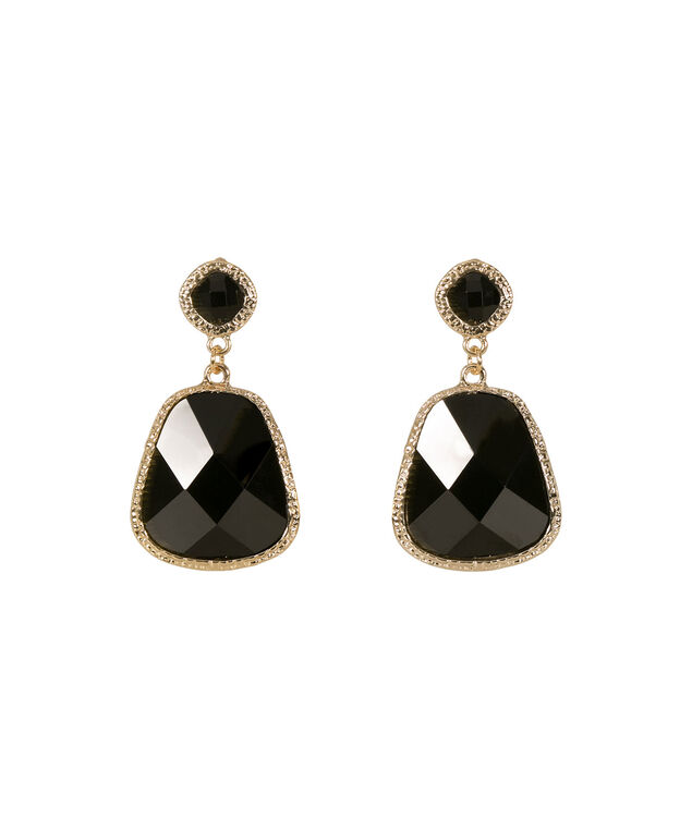 Faceted Stone Drop Earrings, Black/Gold, hi-res