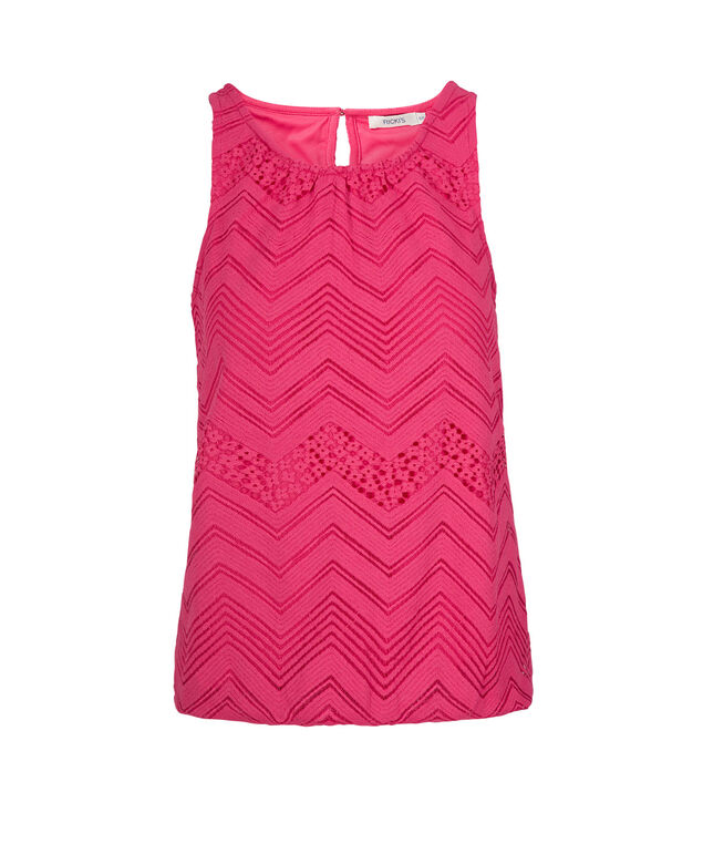 Knit Bubble Hem Tank , Hot Pink, hi-res