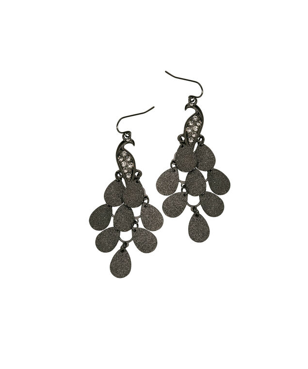 Peacock Teardrop Earring, Hematite, hi-res