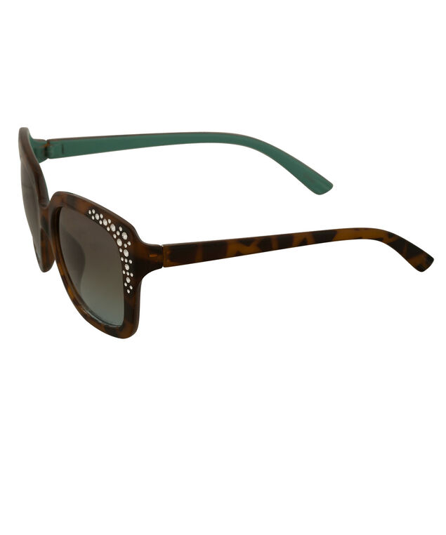 Square Contrast Frame Sunglasses, Brown/Turquoise, hi-res