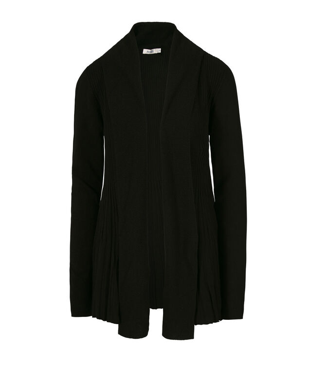 Pointelle Collar Ribbed Tulip Cardi, Black, hi-res