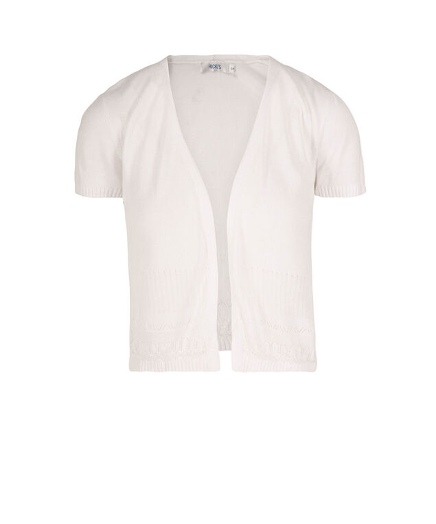 Short Sleeve Pointelle Trim Cardigan, True White, hi-res