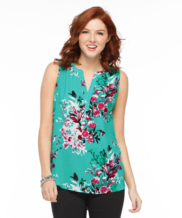 Sleeveless Henley Top, Green Print, hi-res