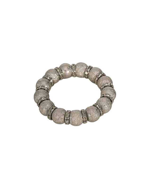 Sanded Bead & Crystal Pave Stretch Bracelet, Clear/Rhodium, hi-res