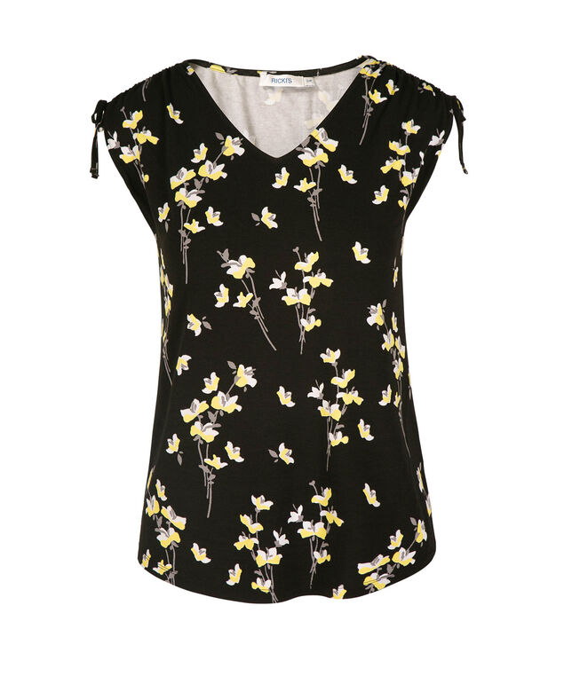 Tie Sleeve V-Neck Tee, Black/Yellow Floral Print, hi-res