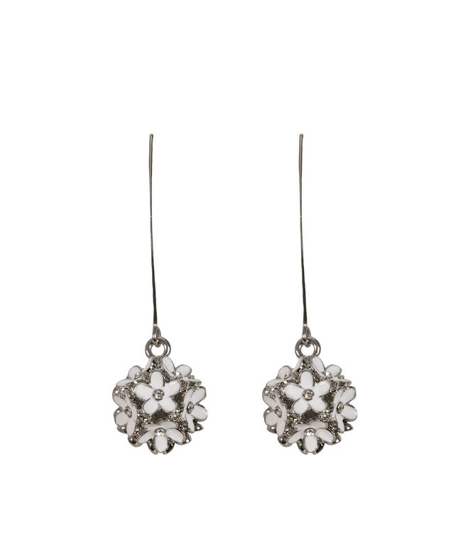 Flower Cluster Drop Earring, White/Rhodium, hi-res