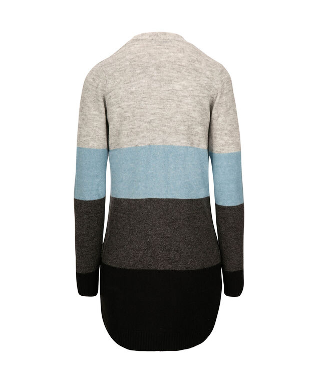 Wide Striped Open Cardigan, Lake Blue/Grey/Charcoal, hi-res