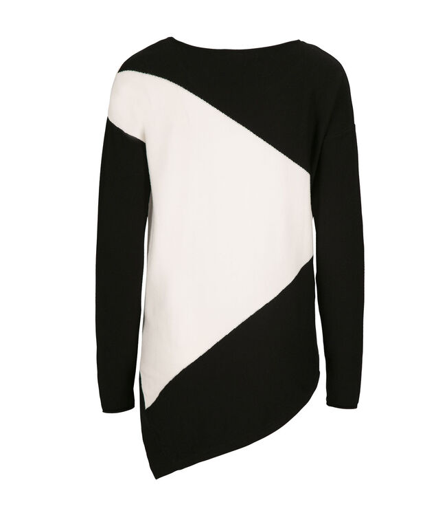 Two Color Block Pullover, Black/Ivory, hi-res