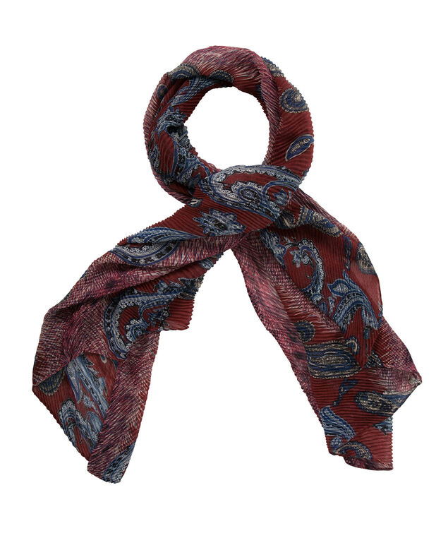 Textured Paisley Print Scarf, Black/Red/White, hi-res
