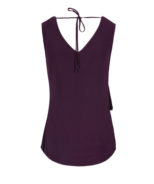 Ruffle Front Tie-Back Sleeveless Top, Grape, hi-res