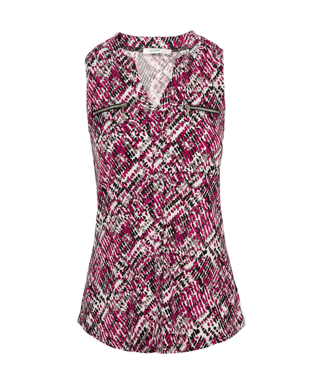 Sleeveless Zip Pocket Blouse, Pink Print, hi-res