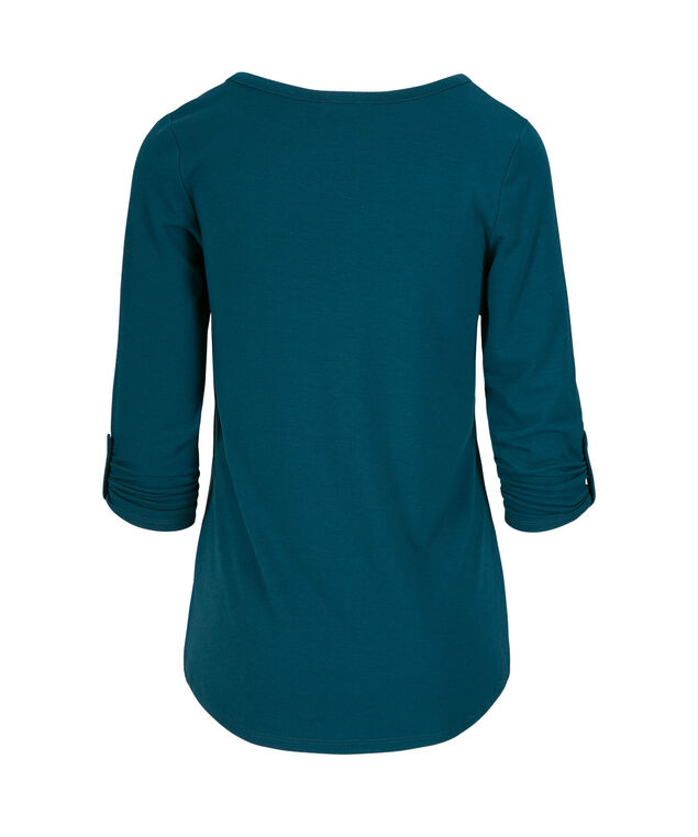 Notch Neck 3/4 Sleeve Knit Top, Midnight Teal, hi-res