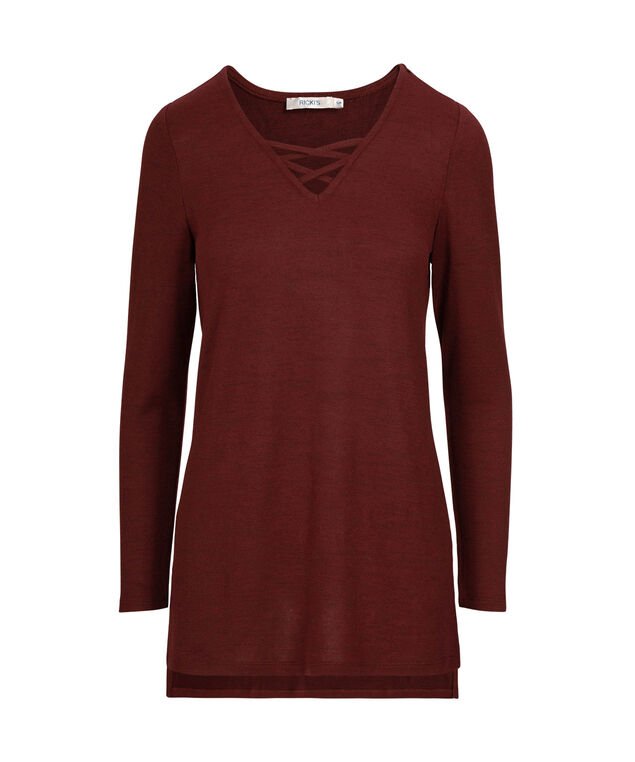 Cross Front Knit Top, Ruby, hi-res