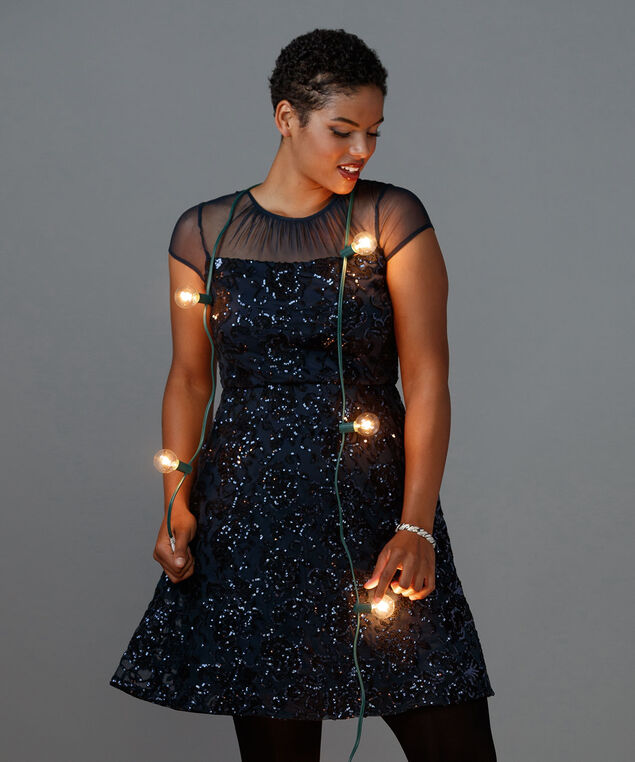 Sequin Fit and Flare Dress, Navy/Black, hi-res