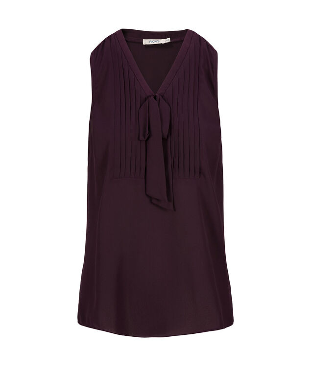 Bow Front Blouse Tank, Blackberry, hi-res
